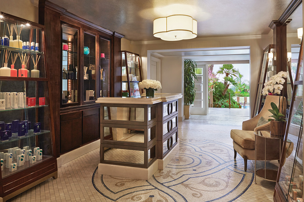 The retail and reception area in the The Spa at The Four Seasons Los Angeles at Beverly Hills.