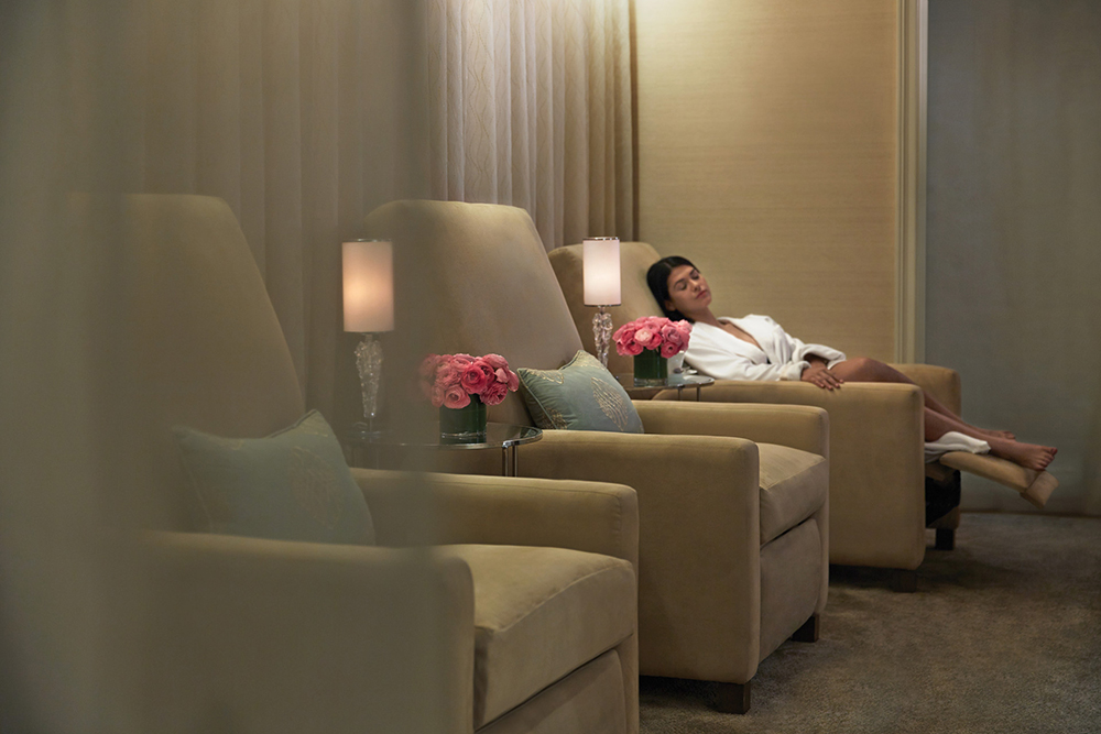 A guest relaxes at The Spa at The Four Seasons Los Angeles at Beverly Hills.