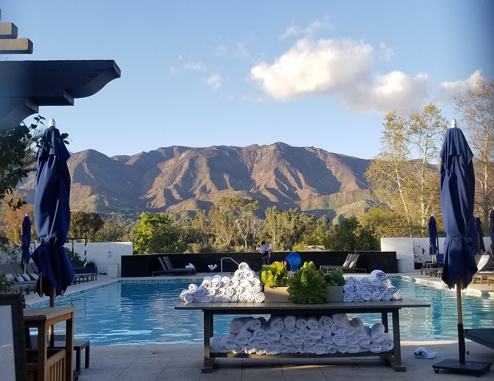 Gorgeous view from a swimming pool at Ojai Valley Inn and Spa.