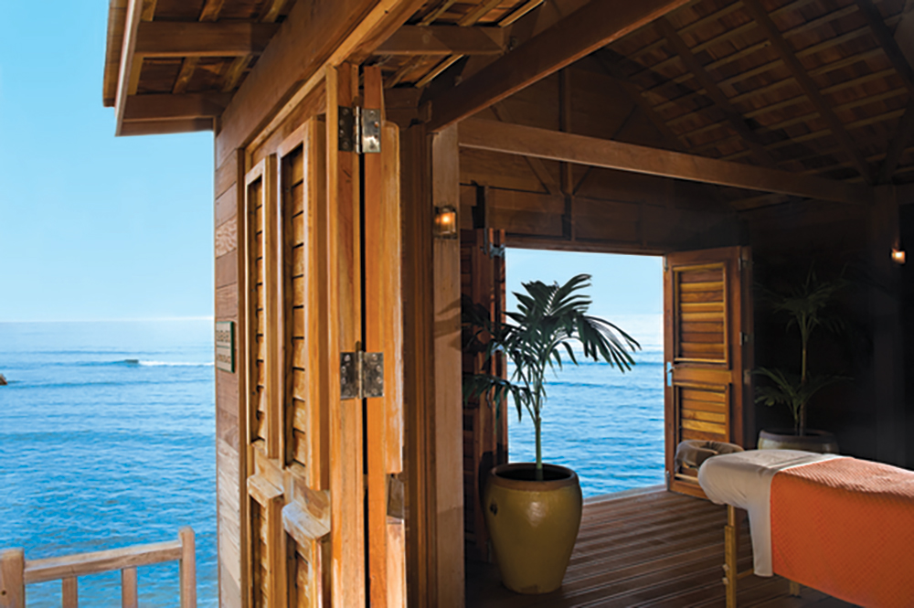 Overwater cabana at Fern Tree Spa at Half Moon in Montego Bay, Jamaica.