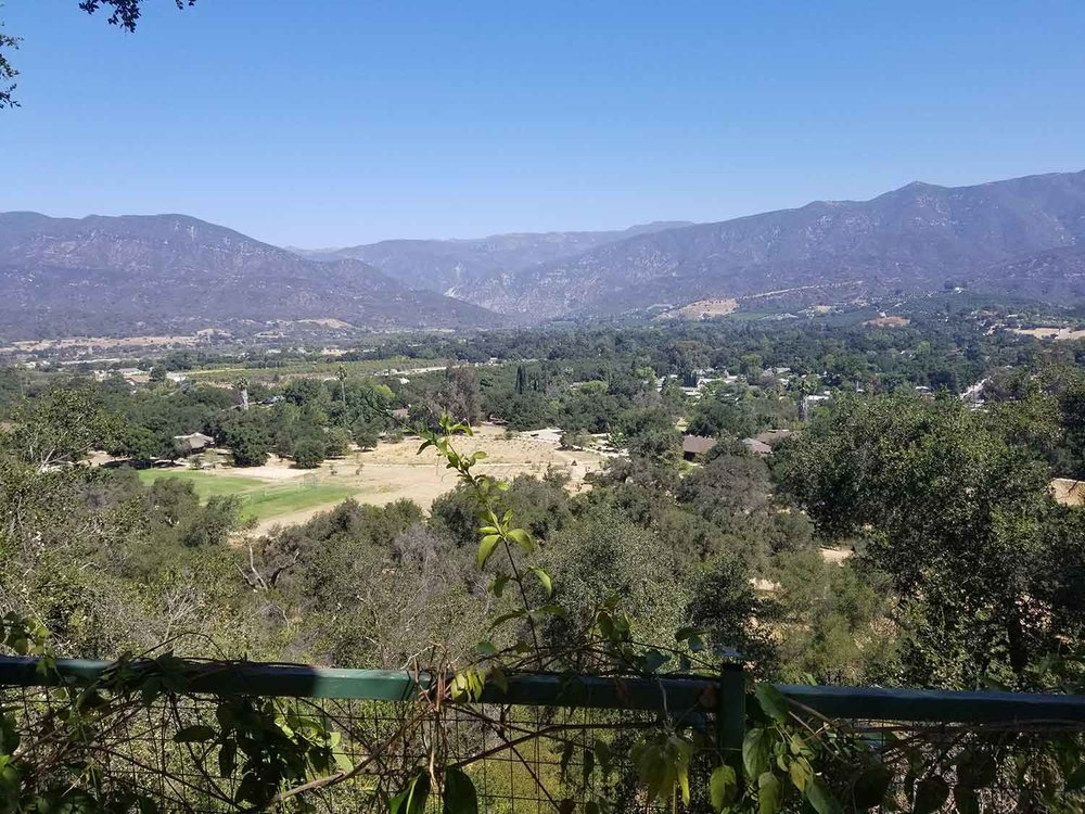 The view from the Ojai Retreat, a perfect location for quiet meditation.