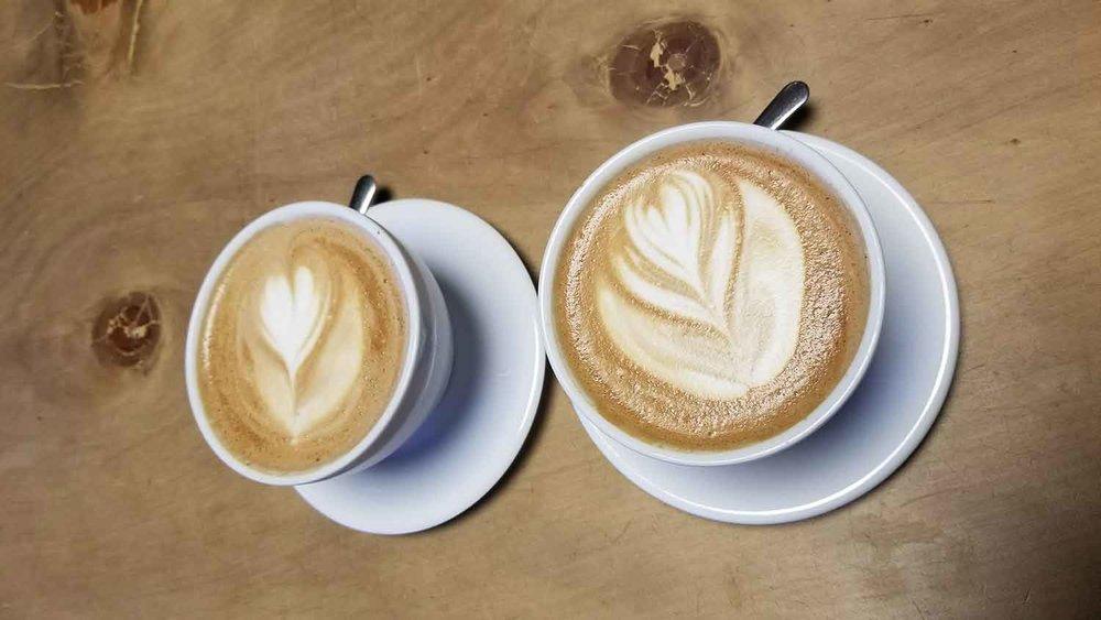 Lattes at Beacon Coffee, Ojai.