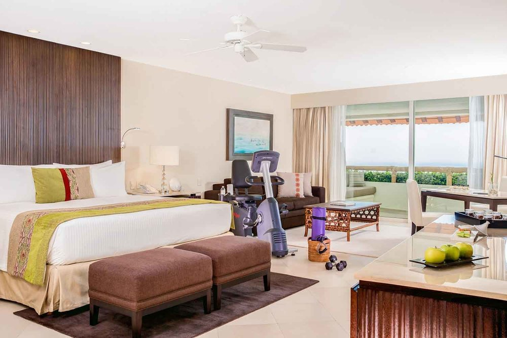 The resort's 1750-square-foot Wellness Suites have two floors inclusive of a rooftop terrace with a massage bed, chaise lounges and a spacious Jacuzzi.