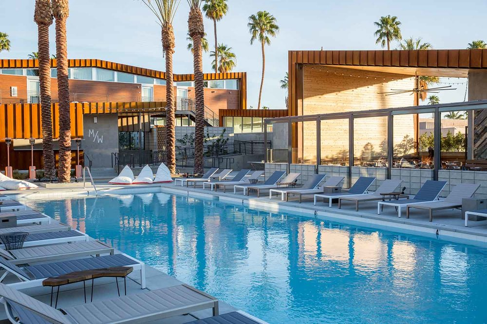 The swimming pool at Arrive Hotel in Palm Springs. [Image courtesy of Palm Springs Preferred Small Hotels]
