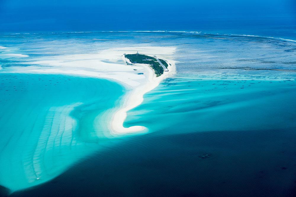 Aerial view of Anantara Medjumbe Island Resort.