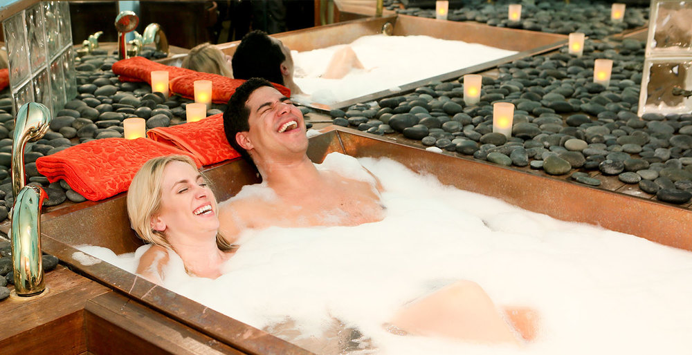 The spa offers a variety of baths to choose from in its signature copper tub.