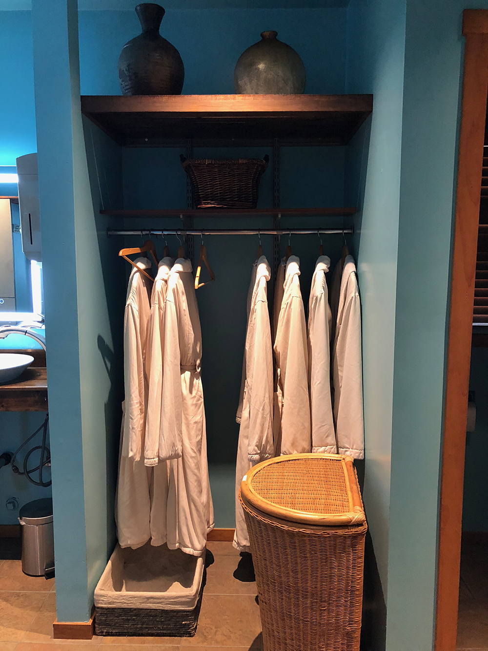 Guests can store their belongings in a locker and change into one of these comfortable robes.