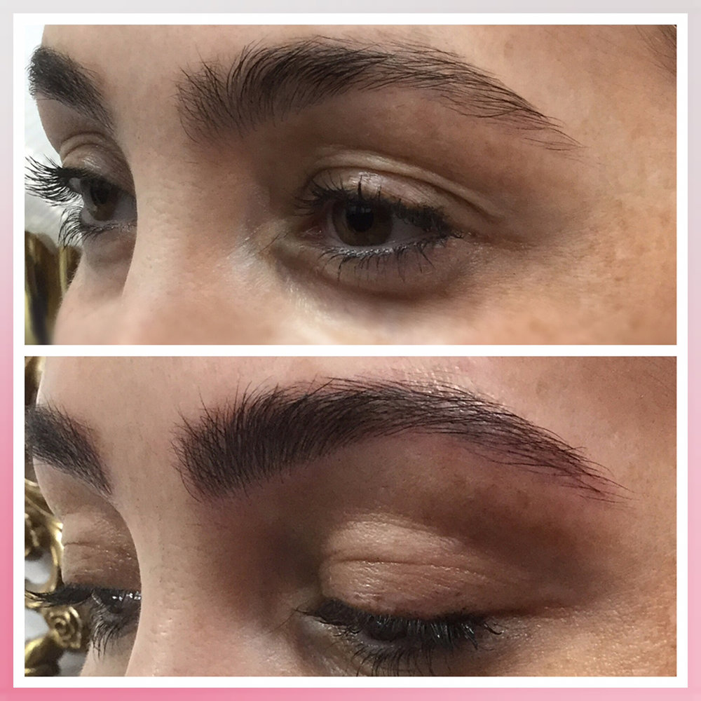 Microfeathering is a technique used for clients that don't need their entire eyebrow done.