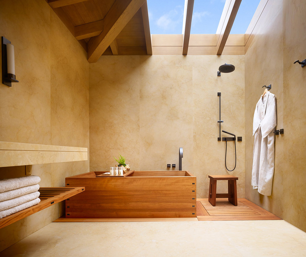 Select rooms have teak soaking tubs and rainfall shower heads.