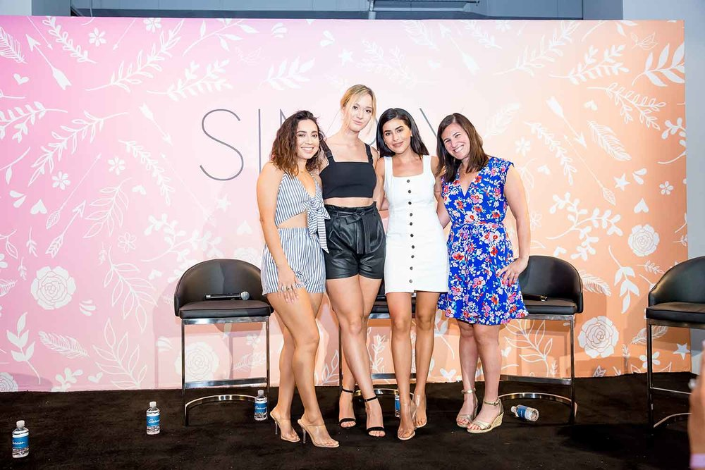 Influencers Ale La Chula, Alisha Marie and Sazan Hendrix with panel moderater Sara Snyder at SIMPLY LA.