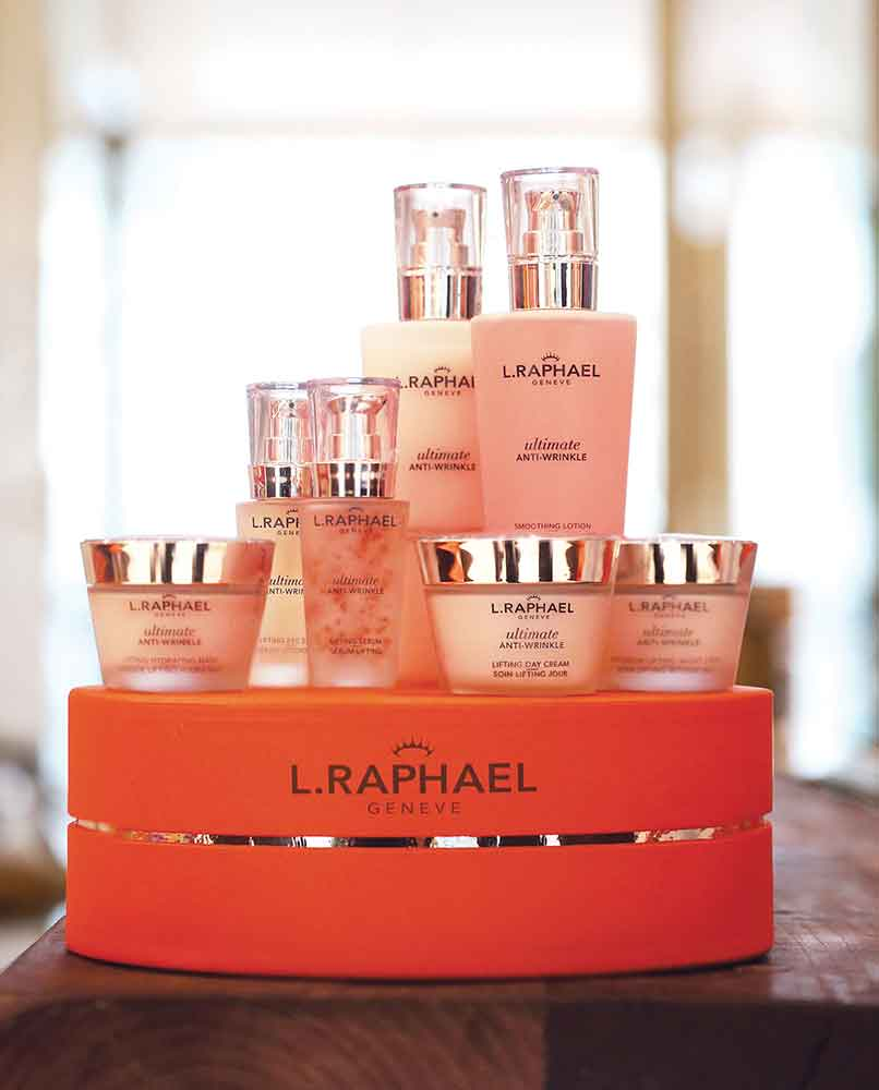 L.Raphael products used in the Diamond Beauty Facial include Soft Foaming Cleansing Gel, Smoothing Lotion, Lifting Eye Serum, Firming Eye Cream, Lifting Serum, Lifting Day Cream, Corrective Moisturizer SPF 15, Intensive Lifting Night Cream and Correcting Mask.
