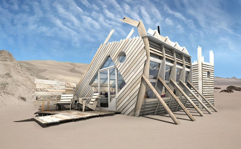 Shipwreck lodge features 10 shipwreck-style cabins on sand dunes with views of the Altantic Ocean.