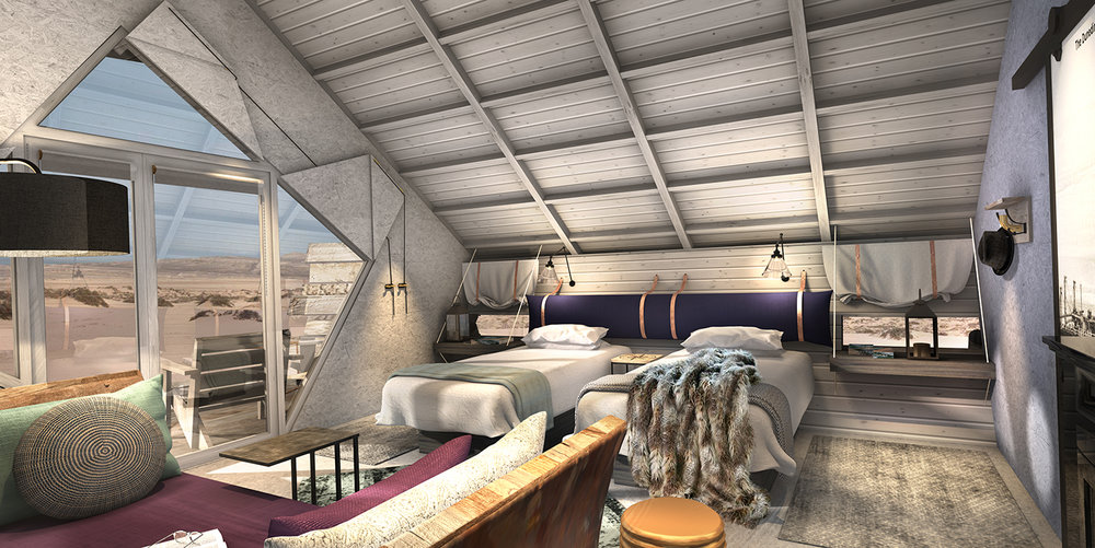 Each cabin is inspired by the famous shipwrecks that can be found along the Skeleton Coast.