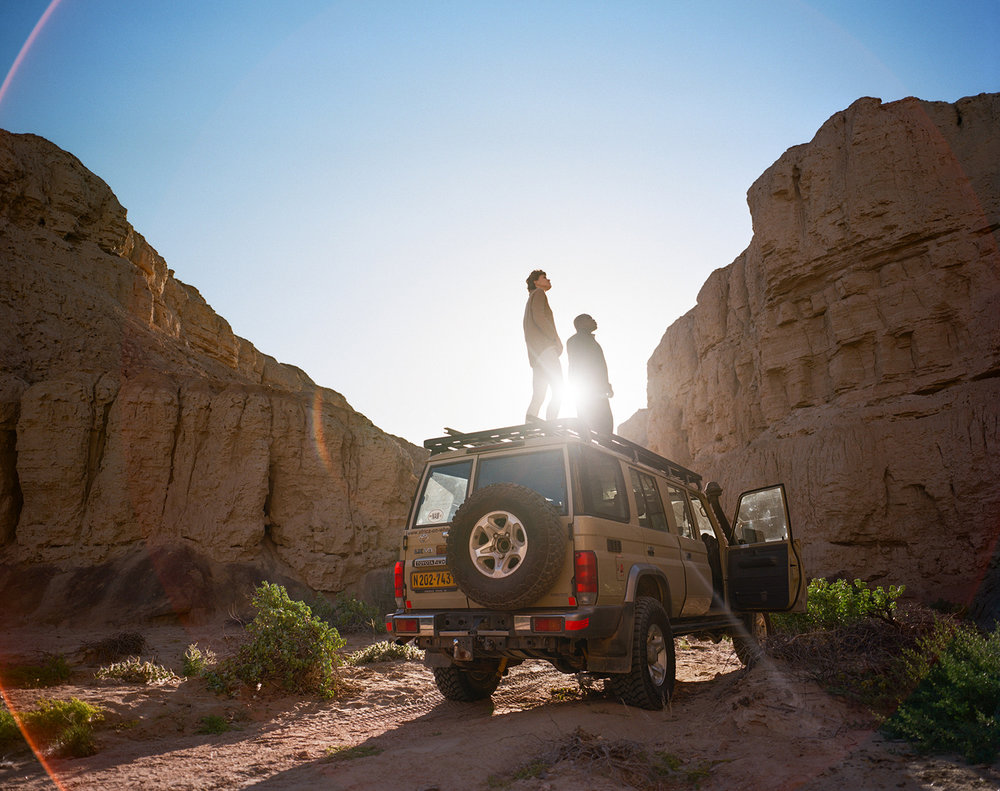 The experience includes nature drives through the Namib dunes with rare plant and animal sightings.