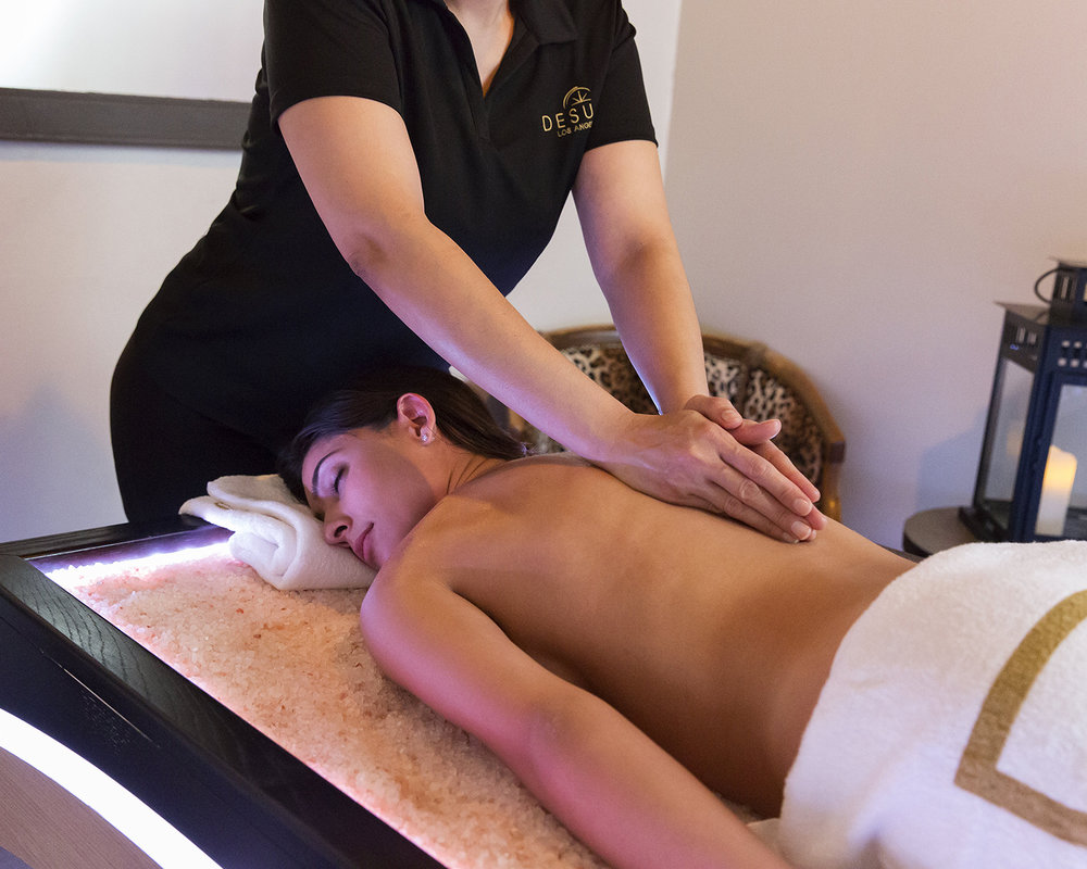 Guests of DESUAR Spa can add a cannabis oil treatment to any massage for pain relief. [Image courtesy of DESUAR Spa]