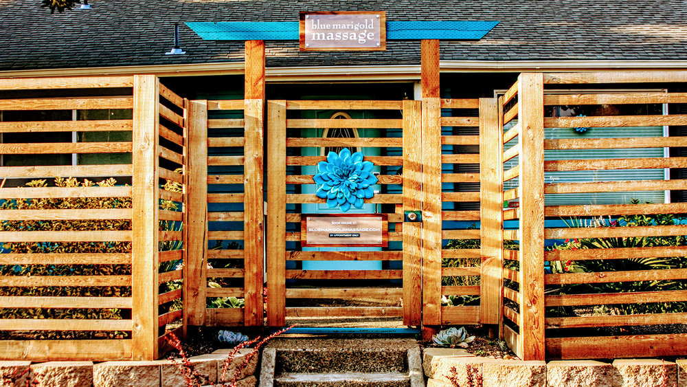 The stunning entrance to Blue Marigold Massage + Wellness.