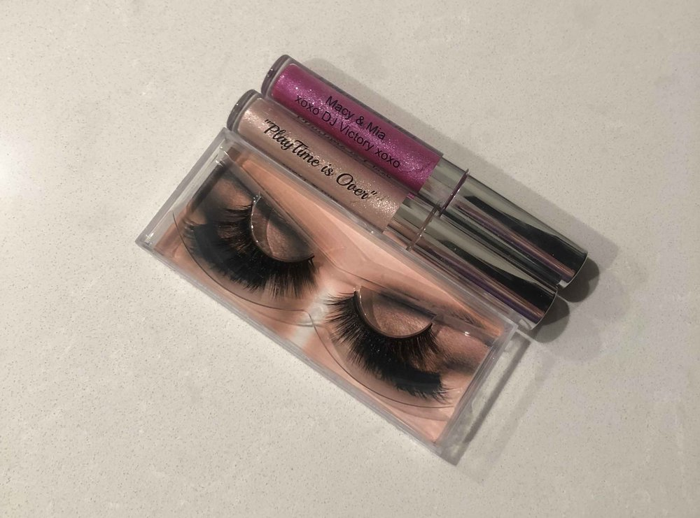 Macy and Mia's 3-D Lashes with DJ and Dana Lip Glosses.