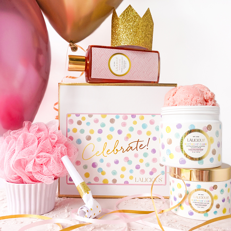 The LALICIOUS Celebration Box ($84) is a festive box filled with birthday cake-themed body products.