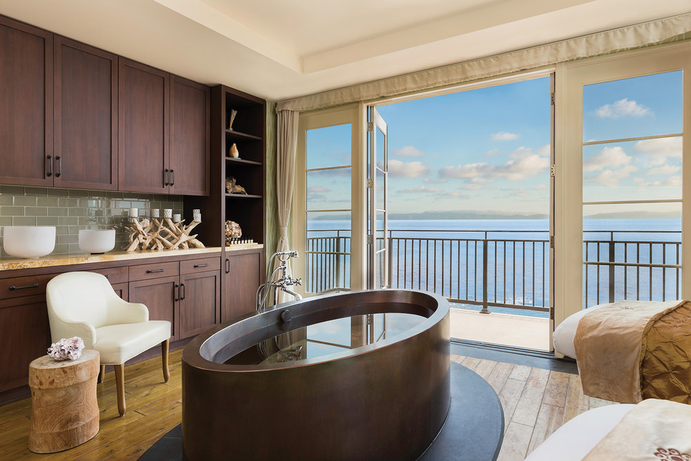 An oceanfront suite at the Spa.