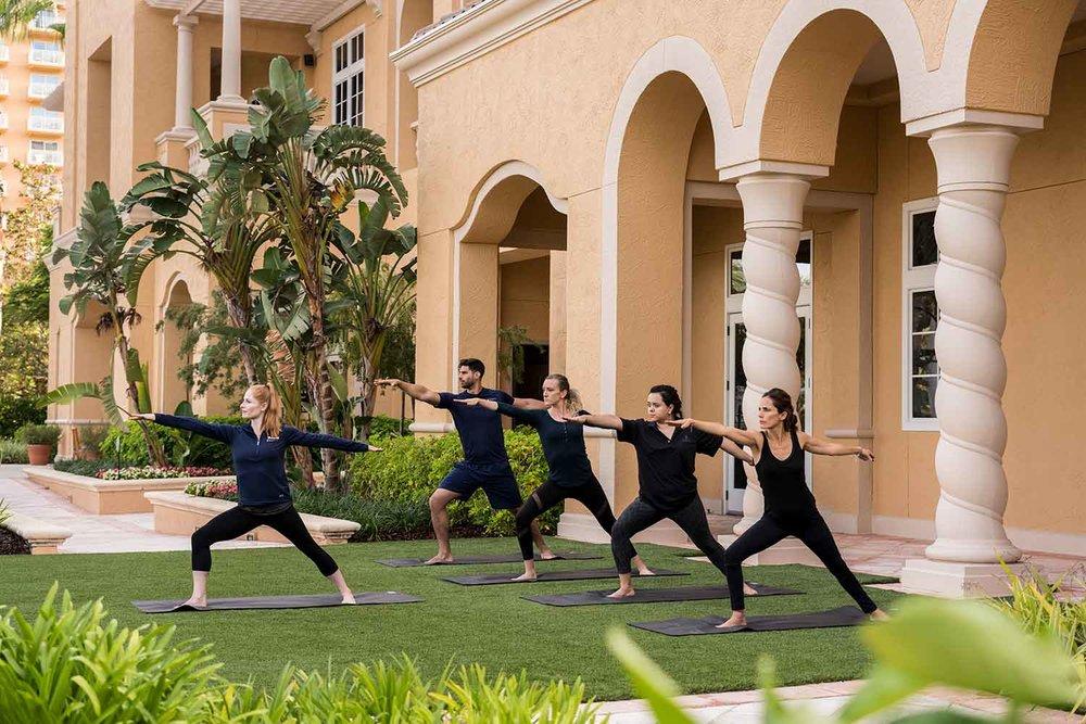 Yoga at the Ritz-Carlton Orlando Spa.