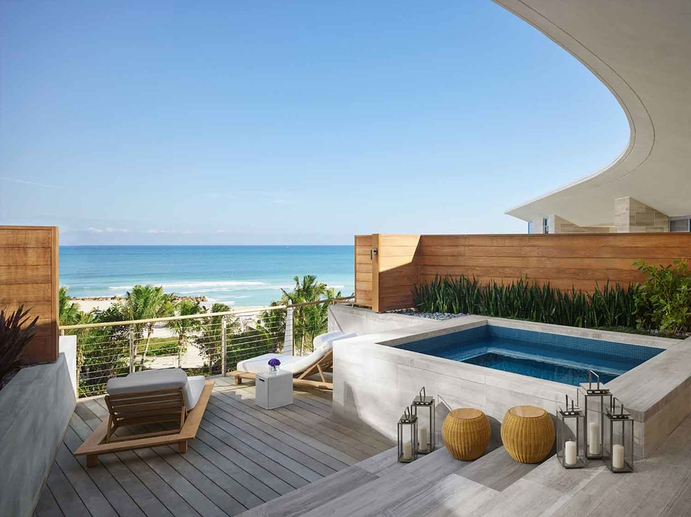Oceanfront suite bungalow at The Miami Beach EDITION.