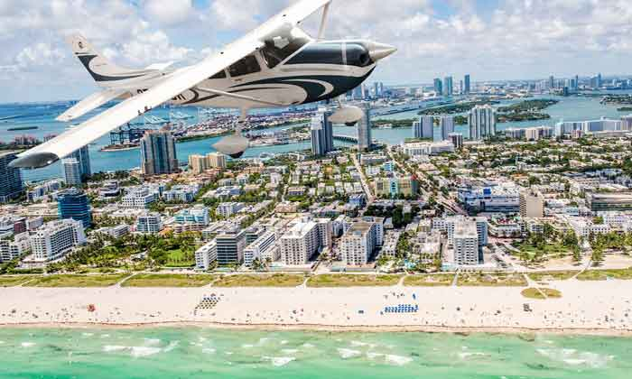 View the famous beaches of Miami with an iconic South Beach skyline airplane tour.
