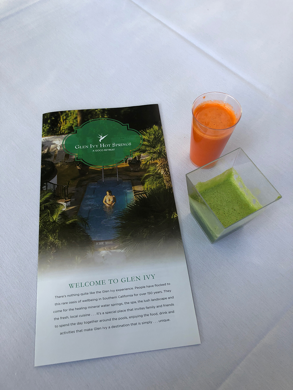 We enjoyed fresh-squeezed juices from Glen Ivy's Ivy Kitchen. [Image courtesy of The Spa Insider]