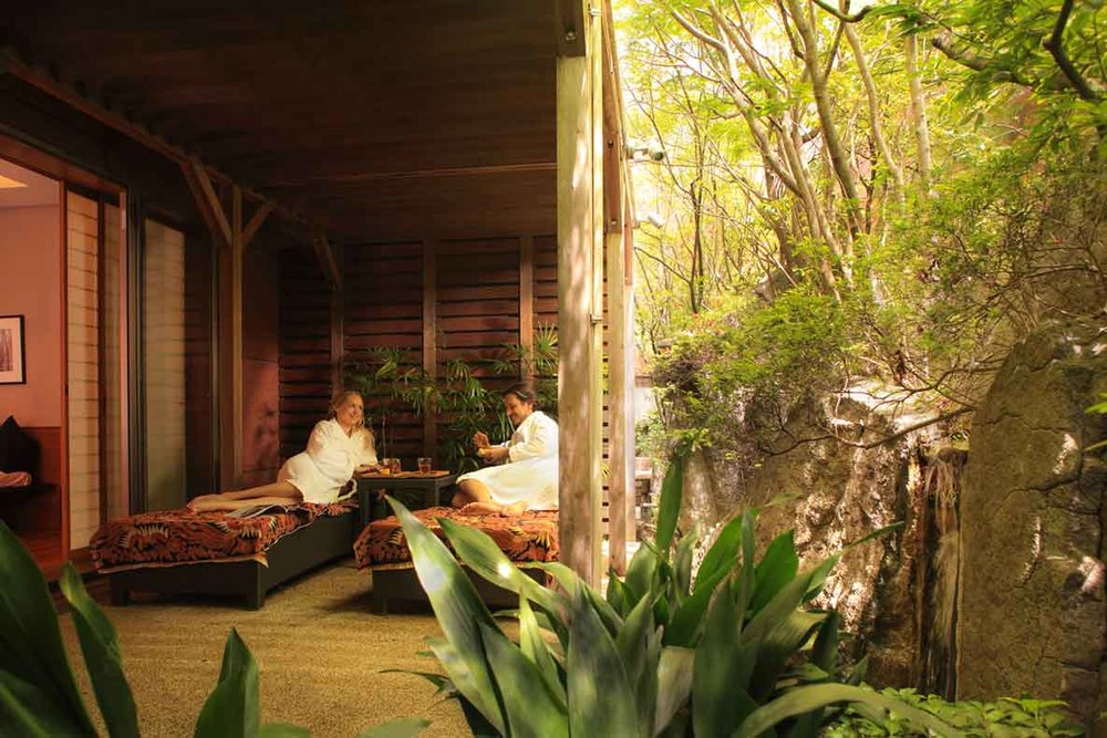 An outdoor deck in one of the spa suites.
