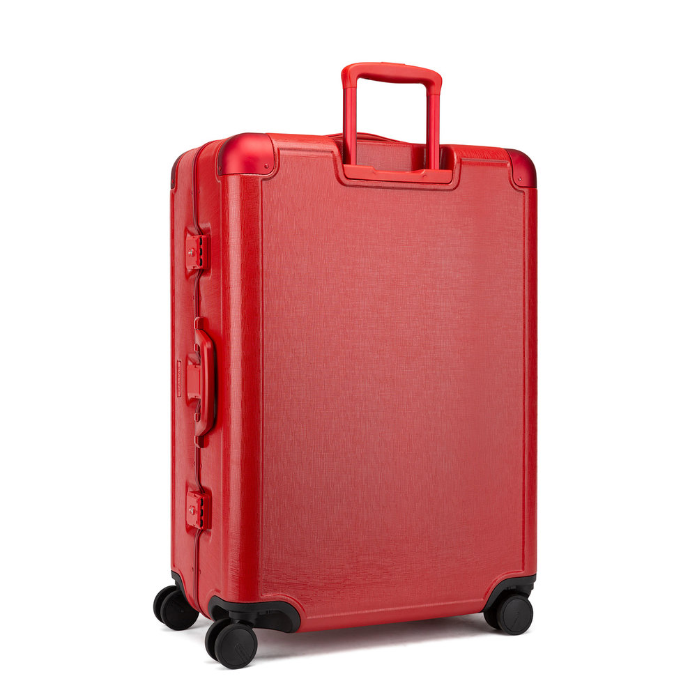 The suitcases are lightweight with an aluminum frame and durable hard-shell body.
