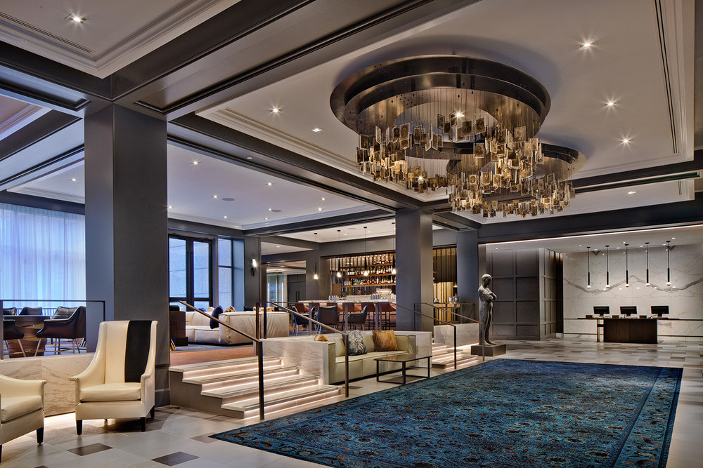 The elegantly appointed lobby in The Logan.