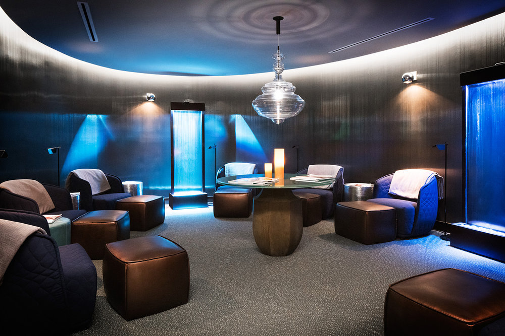 The relaxing lounge area in the spa.