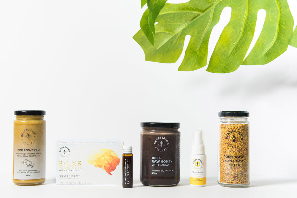 Beekeeper's Naturals has a range of products that includes raw honey and bee pollen.