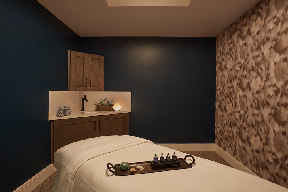 A relaxing treatment room at Drift Spa.