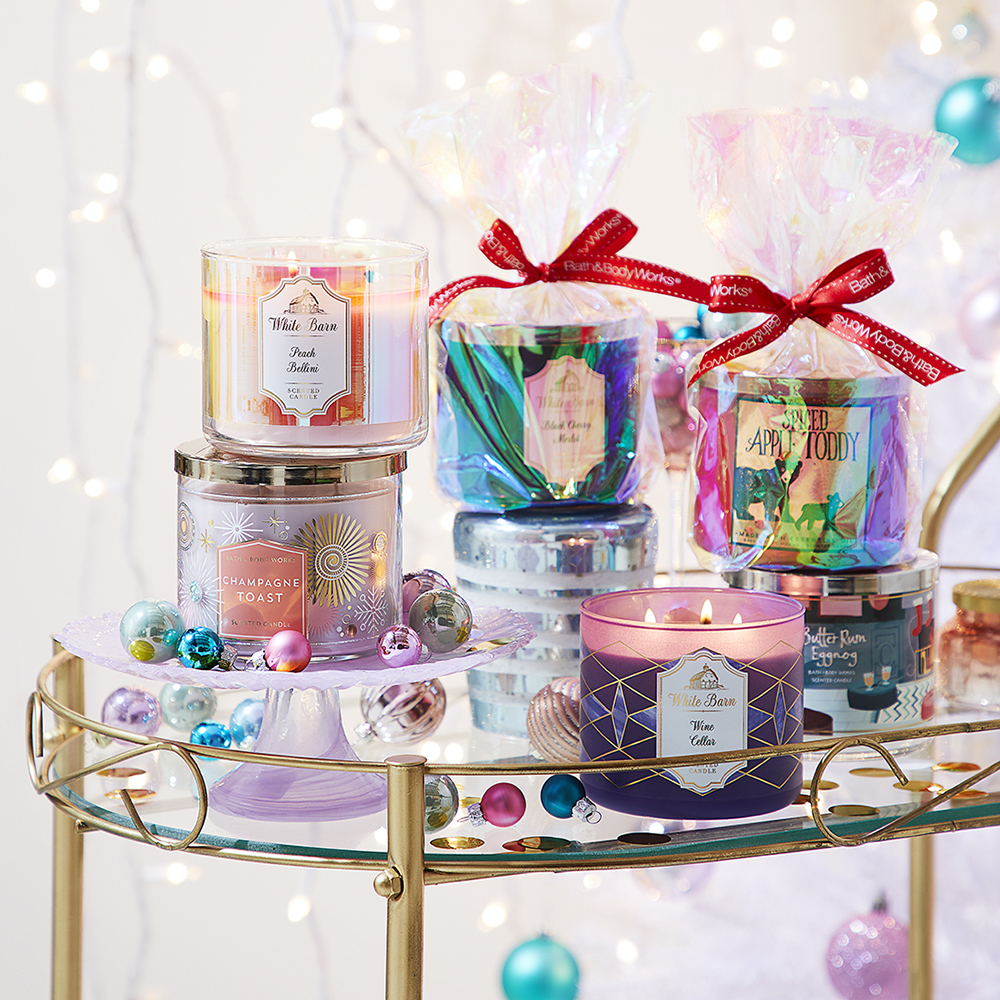 Scents range from Cinnamon & Pinecone to Peppermint Brownie, and are also available in 3-wock candles.