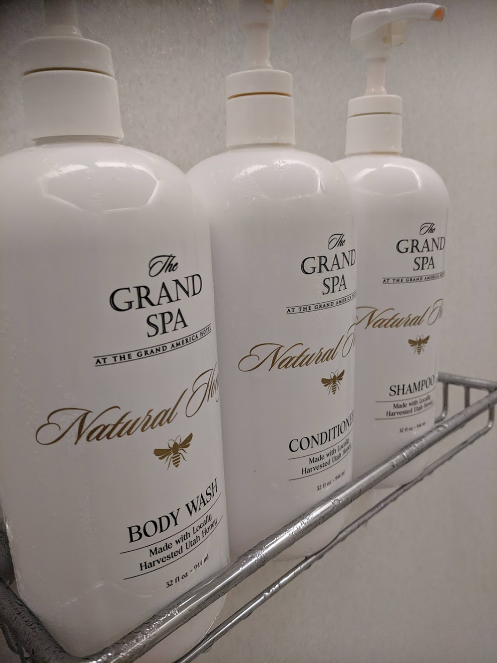 The Spa at The Grand's custom shower selection smells of sweet honey.