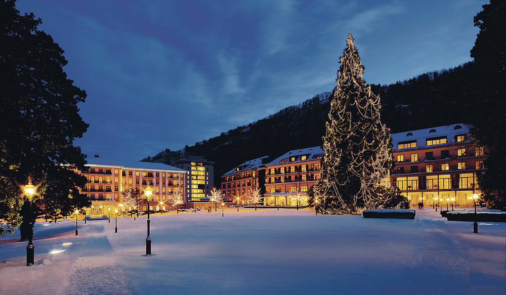 The 130-foot tree in front of Grand Resort Bad Ragaz is beautifully decorated for the holidays.