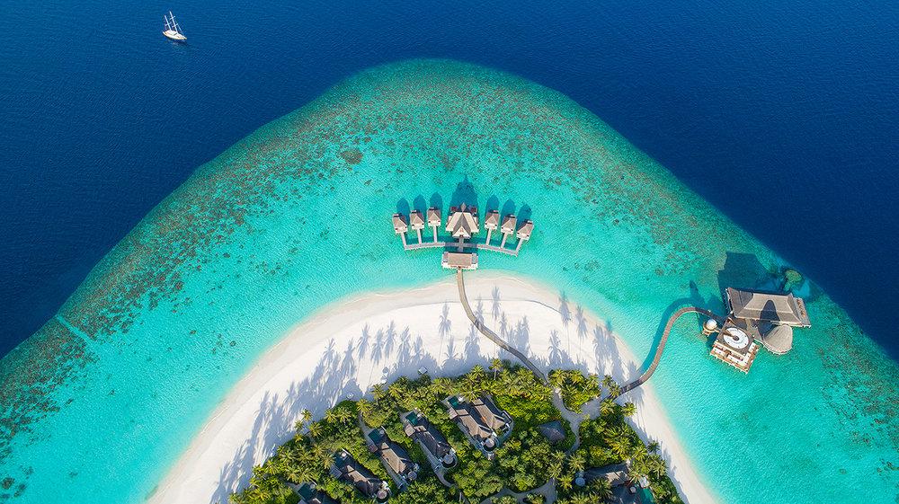 Anantara Kihavah Maldives Villas are located on the Baa Atoll in a UNESCO Biosphere Reserve.