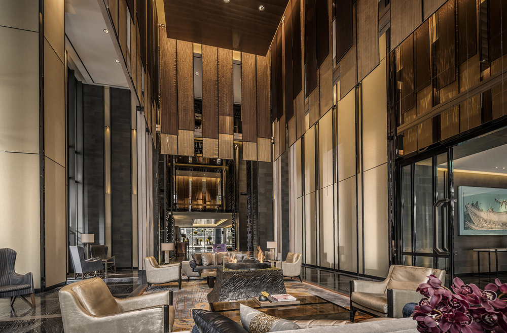 The chic lobby at Four Seasons Hotel Seoul.