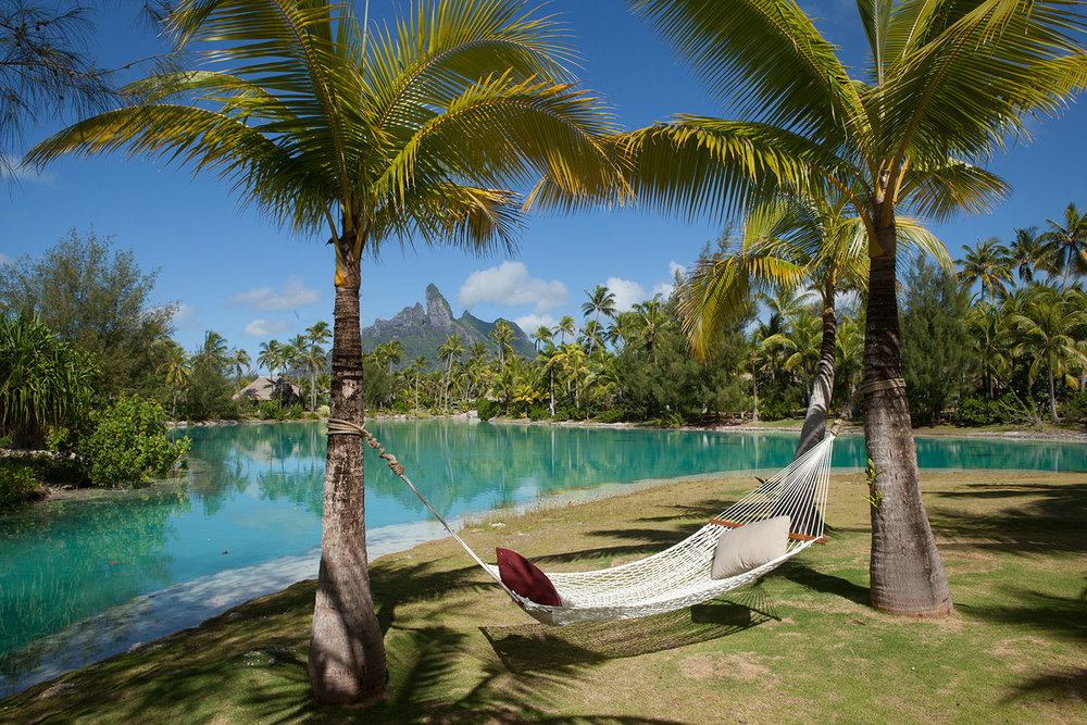 The Spa's secluded beach faces the majestic Mount Otemanu.
