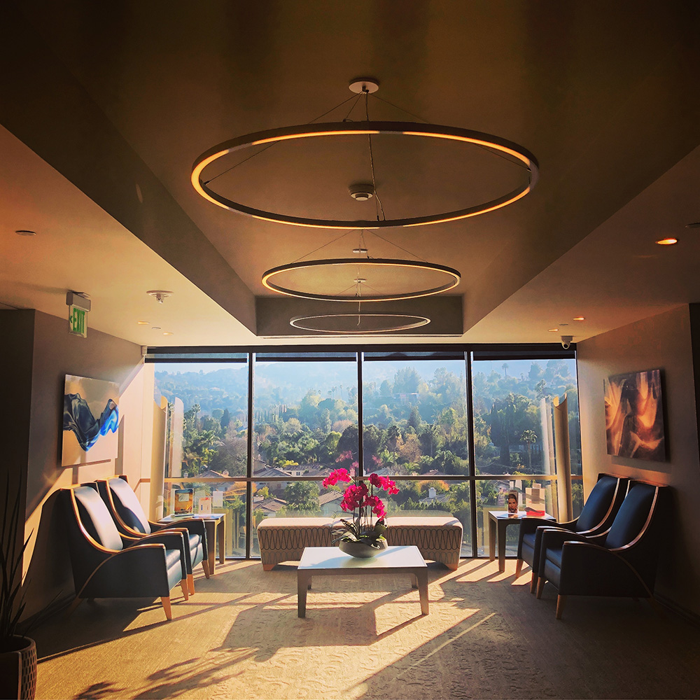 The waiting area offers prime views of the Encino hills.