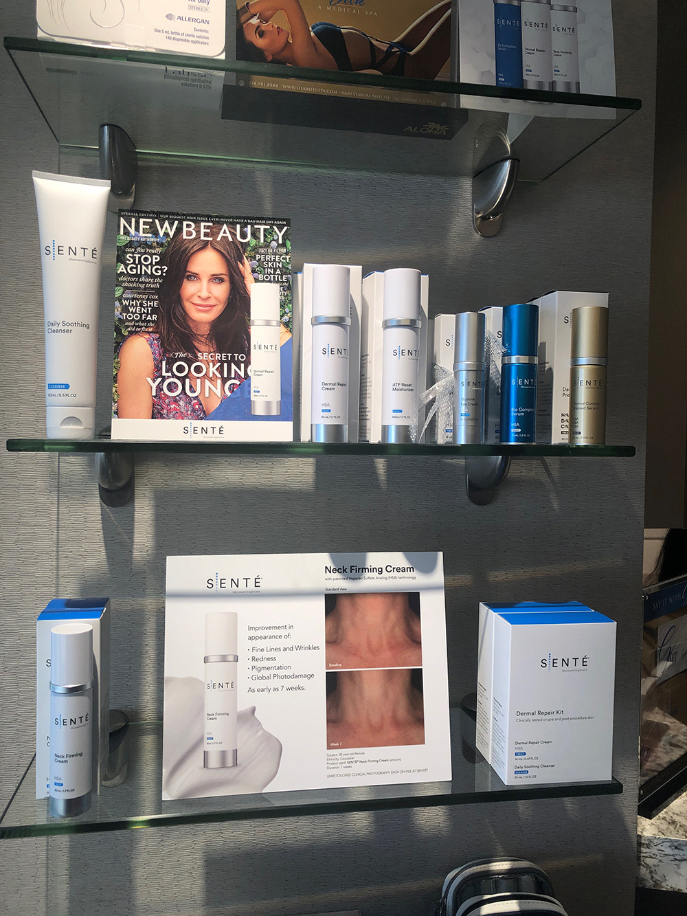 The retail area carries a variety of medical-grade skin care lines, including celebrity favorite Sente.