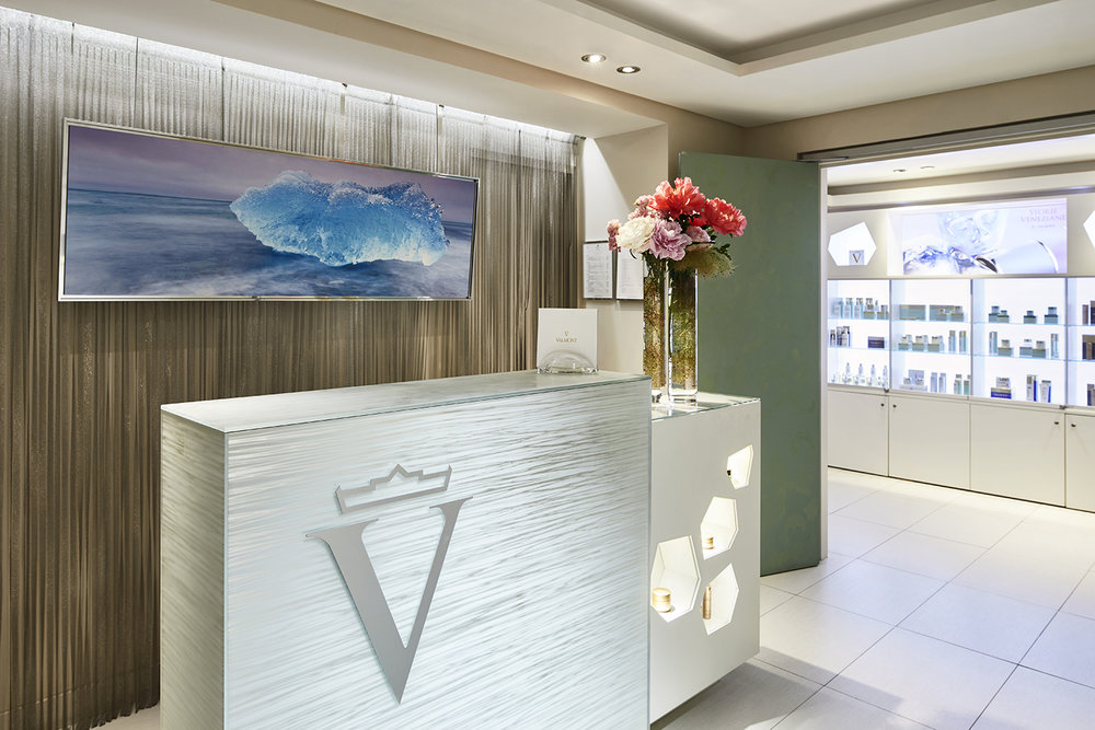 The reception desk at Spa Valmont.