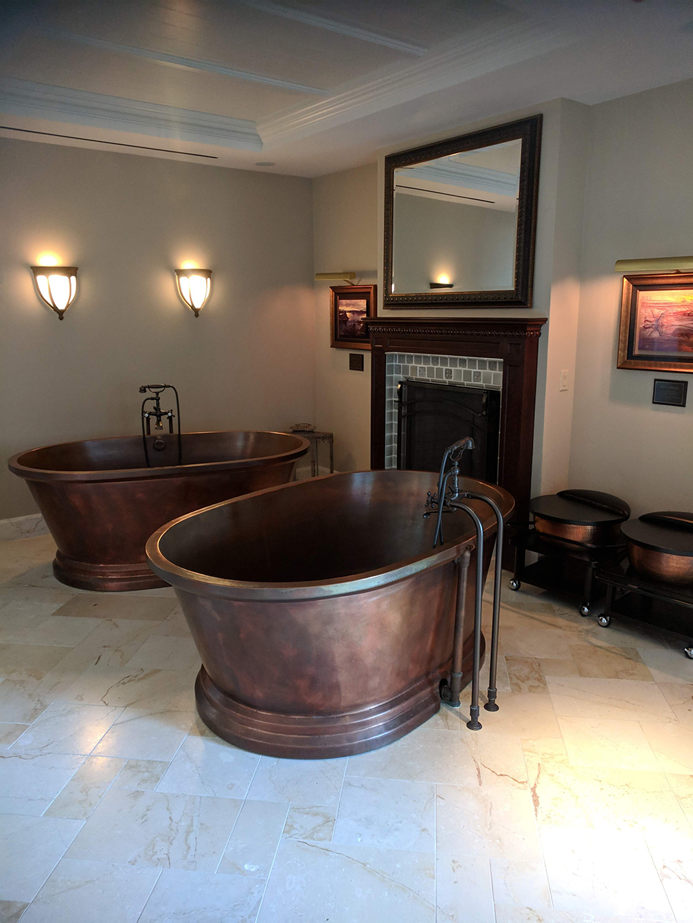 Dual copper tubs in the Serenity Couples Treatment Room.