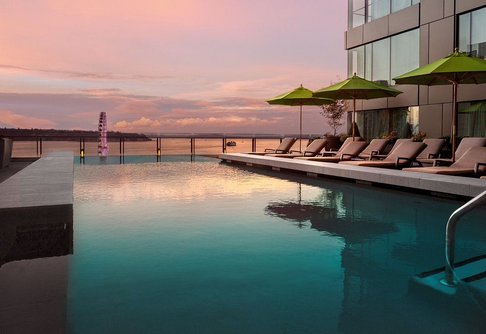 The infinity pool at sunset.