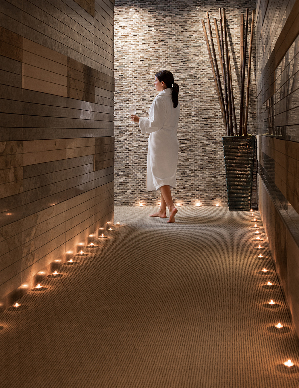 The serene spa hallway.