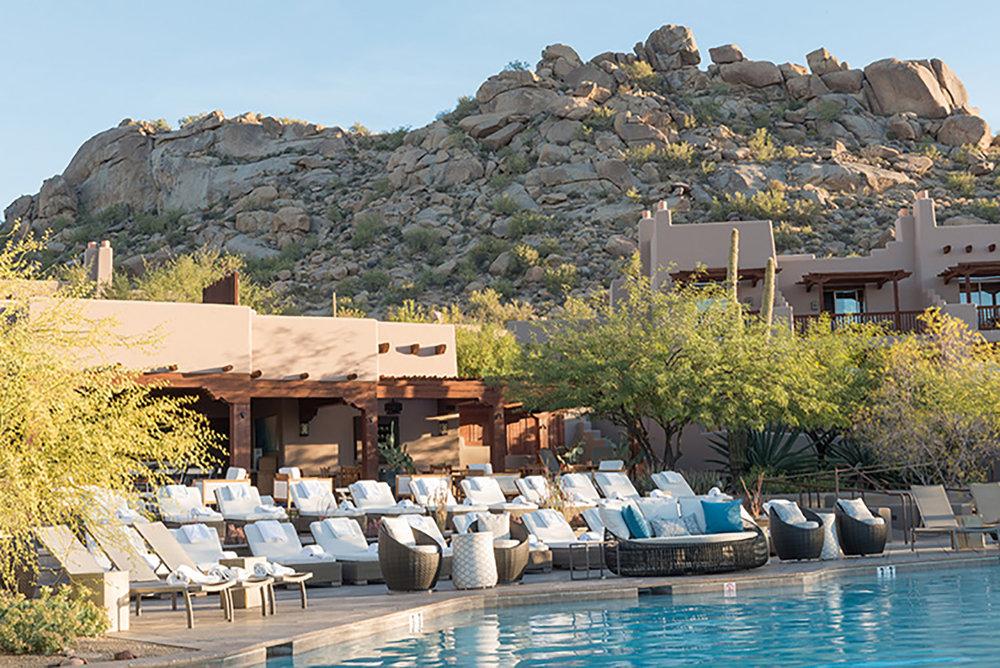 The resort's amenities include a bi-level pool.