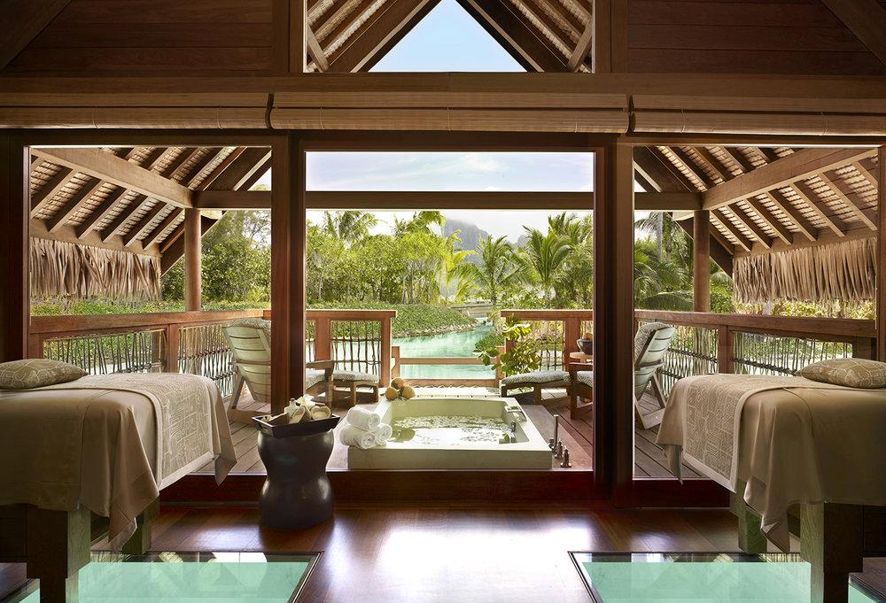 Fare Miti Spa Suite at Four Seasons Resort Bora Bora's Te Mana Spa.