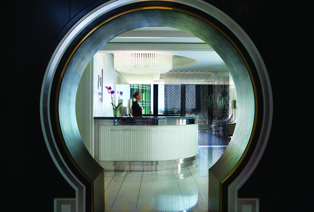 The moon gate that leads to the check-in desk at Chuan Spa, Langham Chicago.