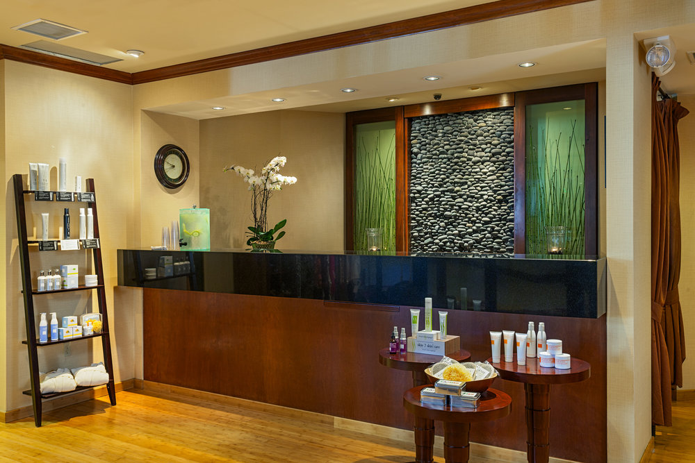 Spa of the Pines front desk at Lake Arrowhead Resort and Spa.