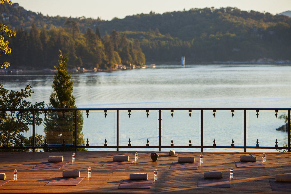 Morning lakeside yoga at Lake Arrowhead Resort and Spa.